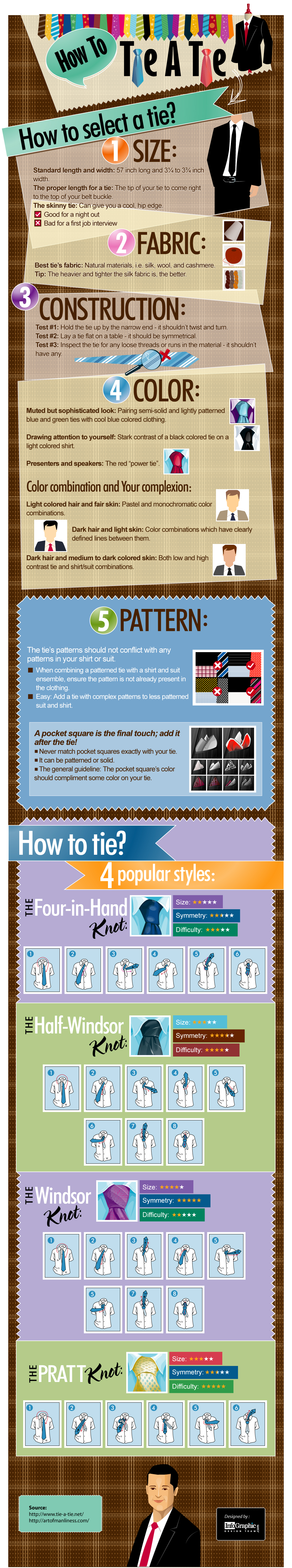 How to tie a tie - infographic